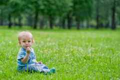 Kleiner Junge, der auf Gras sitzt Stockfotografie