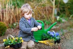 Kleiner Junge, der Blumen im Garten im Garten arbeitet und pflanzt Lizenzfreie Stockfotografie