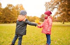 Kleiner Junge, der dem Mädchen Herbstahornblätter gibt Stockfoto