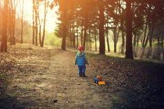 Kleiner Junge, der in den Wald geht Stockfoto