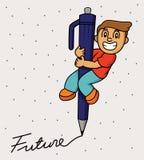 Kleiner Junge, der eine große Stiftschreibenszukunft verwendet Stockbild