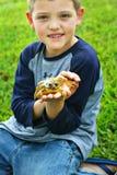 Kleiner Junge, der einen Frosch anhält Lizenzfreie Stockfotografie