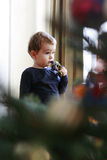 Kleiner Junge, der er Weihnachtsbaum betrachtet stockfotos