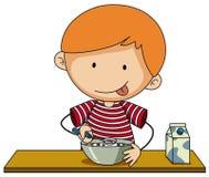 Kleiner Junge, der Getreide mit Milch isst stock abbildung