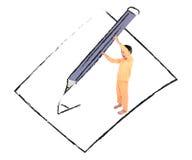 Kleiner Junge, der großes Bleistiftschreiben auf Papierzeichnungslinie nimmt Stockfotos