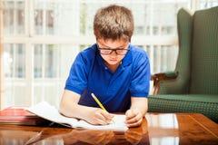 Kleiner Junge, der Heimarbeit tut Lizenzfreie Stockfotos