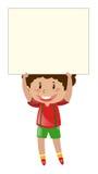 Kleiner Junge, der herauf leeres Papier anhebt Stockfotografie