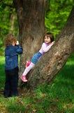 Kleiner Junge, der Mädchen im Park auf Baum fotografiert Stockfotos