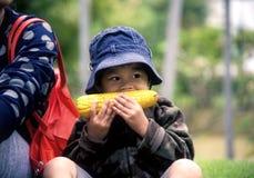 Kleiner Junge, der Mais isst: Nahaufnahme lizenzfreies stockfoto