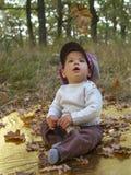 Kleiner Junge, der mit Blättern am goldenen Herbstparkhintergrund spielt Lizenzfreies Stockfoto