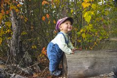 Kleiner Junge, der mit Blättern am Herbstpark spielt Stockbilder