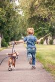Kleiner Junge, der mit seinem Spürhundwelpen spielt Lizenzfreie Stockbilder