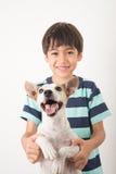 Kleiner Junge, der mit seiner Freundhundesteckfassung Russel auf Weiß spielt Stockfoto