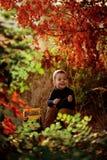 Kleiner Junge, der mit Spielzeugtraktor auf Landschaftsstraße spielt lizenzfreie stockbilder