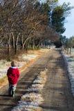 Kleiner Junge, der morgens hinunter eine eisige Landstraße geht Stockbild