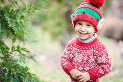Kleiner Junge in der Strickjacke und in Hut, die auf ein Weihnachten im Holz warten lizenzfreies stockfoto