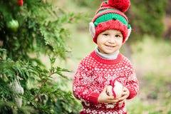 Kleiner Junge in der Strickjacke und in Hut, die auf ein Weihnachten im Holz warten stockbild