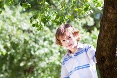 Kleiner Junge, der unter einem großen rtee an einem sonnigen Tag spielt Lizenzfreies Stockbild