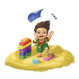 Kleiner Junge in einer Sandgrube stock abbildung