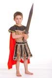 Kleiner Junge gekleidet als Ritter stockfotografie