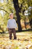 Kleiner Junge am Herbstpark stockfoto