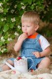 Kleiner Junge im Sommer mit Erdbeeren Stockfotografie