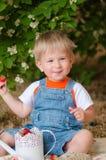 Kleiner Junge im Sommer mit Erdbeeren Lizenzfreie Stockbilder