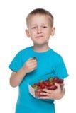 Kleiner Junge isst Erdbeere stockbilder