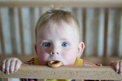 Kleiner Junge mit Bagel Stockfotografie