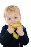 Kleiner Junge mit Banane Stockfotos