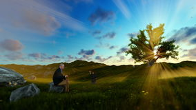 Little boy with airplane and grandfather resting on green meadow at sunset, panning Stock Footage