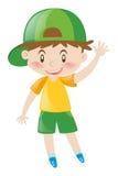 Kleiner Junge mit dem grünen Hutwellenartig bewegen Stockbilder