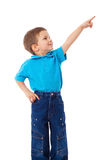 Kleiner Junge mit der leeren Zeigehand Stockfotografie