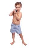 Kleiner Junge mit Dumbbell Lizenzfreie Stockfotografie