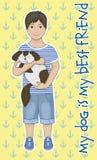 Kleiner Junge mit einem Hund Lizenzfreie Stockbilder