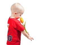 Kleiner Junge mit einer Tulpe Lizenzfreies Stockfoto