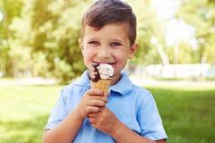 Kleiner Junge mit Eiscreme im Park am sonnigen Tag Stockfotos