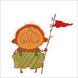 Kleiner Junge mit Flagge ist meerkat, Piratenspiel ähnlich Lizenzfreie Stockbilder