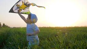Kleiner Junge mit Fliegenspielzeug in Arme läuft an der Wiese im Sonnenlicht auf Hintergrundhimmel stock video