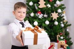 Kleiner Junge mit Geschenk und Weihnachtsbaum Lizenzfreies Stockfoto