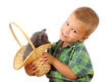 Kleiner Junge mit grauer Miezekatze in der Flechtweide Lizenzfreie Stockfotografie