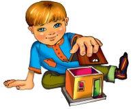 Kleiner Junge mit Haus. Abbildung Stockfoto