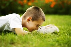 Kleiner Junge mit Kaninchen Lizenzfreie Stockfotos
