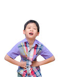 Kleiner Junge mit Magenschmerzen Stockfoto