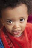 Kleiner Junge mit Schellfisch Stockbilder