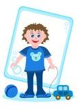 Kleiner Junge mit Spielwaren Stockfotografie