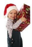 Kleiner Junge mit Weihnachtsgeschenkkasten Lizenzfreie Stockfotografie