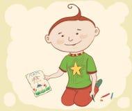 Kleiner Junge mit Zeichnung Stockbild