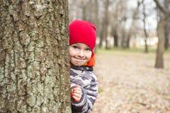 Kleiner Junge spielt Verstecken drau?en Portr?t eines netten kleinen Jungen, der von hinten Baum sp?ht stockbilder