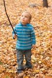 Kleiner Junge steht auf den gelben Blättern. Stockfotos